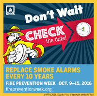Replace smoke alarms every 10 years!